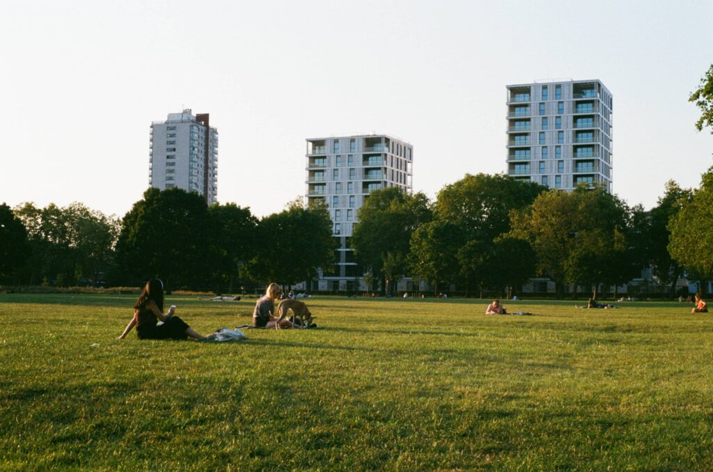 """Ext. Day. Photo of a little portion of green field in a park. There's a sunset light coming from the left-hand side of the photo and maybe it's the reason why there are very few people laying on the grass. In the background, behind a row of green tall trees, we can see three residential medium-size skyscraper. They're chanting """"gentrification"""" altogether."""